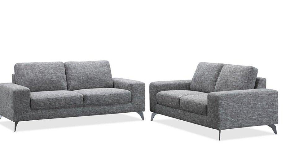 canap de salon design en tissu gris longueur 2 m tres. Black Bedroom Furniture Sets. Home Design Ideas