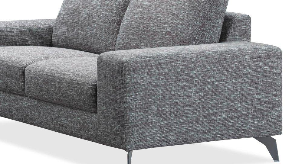 Canap de salon design en tissu gris longueur 2 m tres for Canape 2 metres