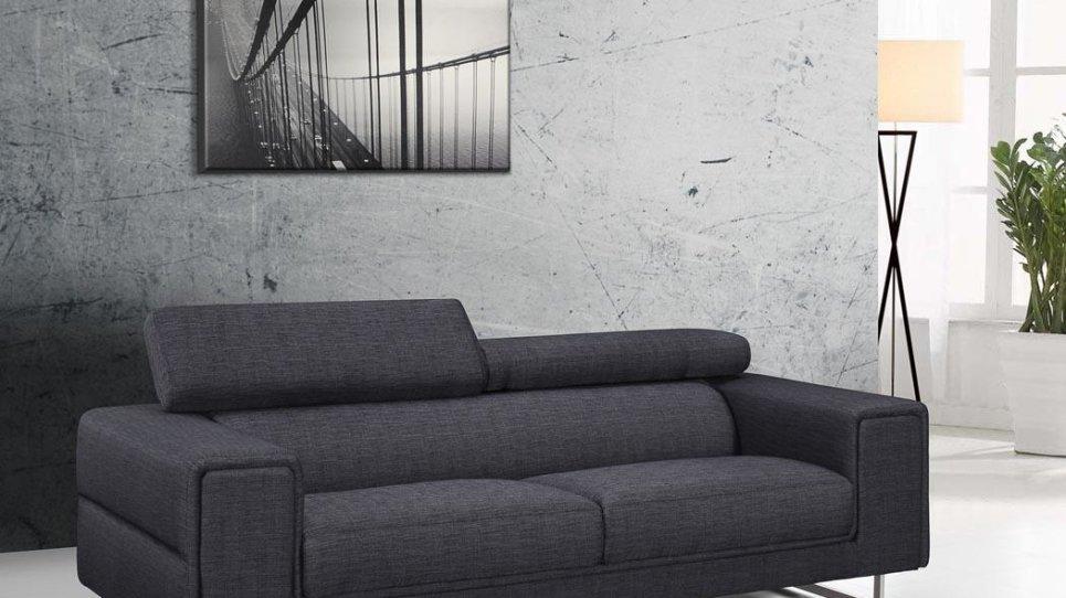 Canap design gris chablis en tissu fixe 3 places avec - Canape fixe 3 places tissu ...