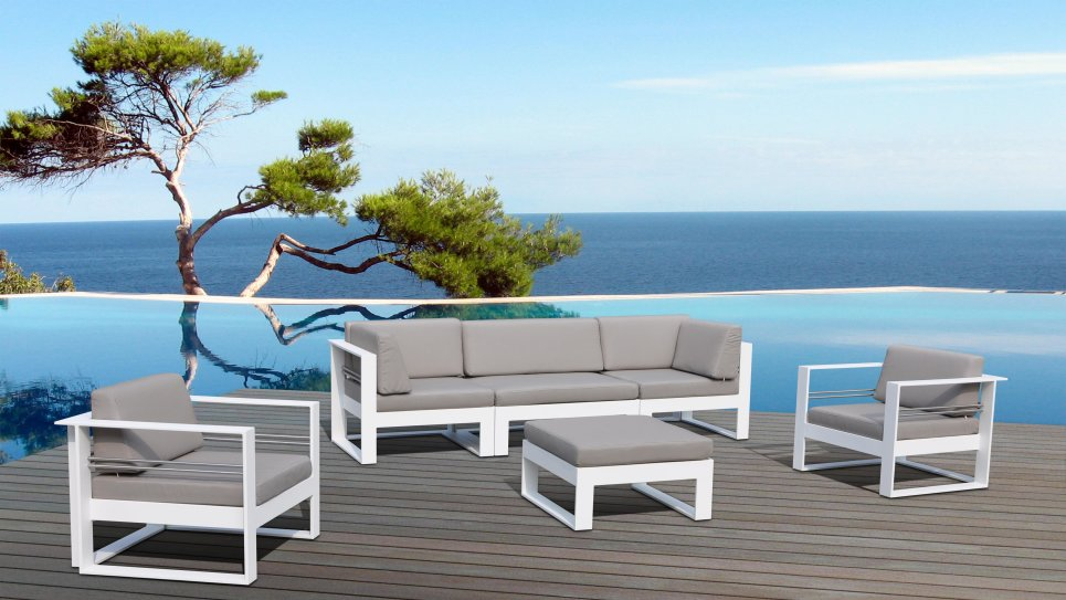salon de jardin aluminium haut de gamme 5 places st tropez. Black Bedroom Furniture Sets. Home Design Ideas