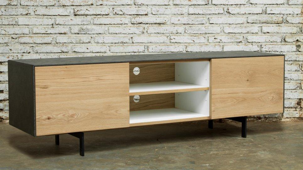 meuble tv ch ne massif 1 portes 1 tiroirs 2 niches xena. Black Bedroom Furniture Sets. Home Design Ideas
