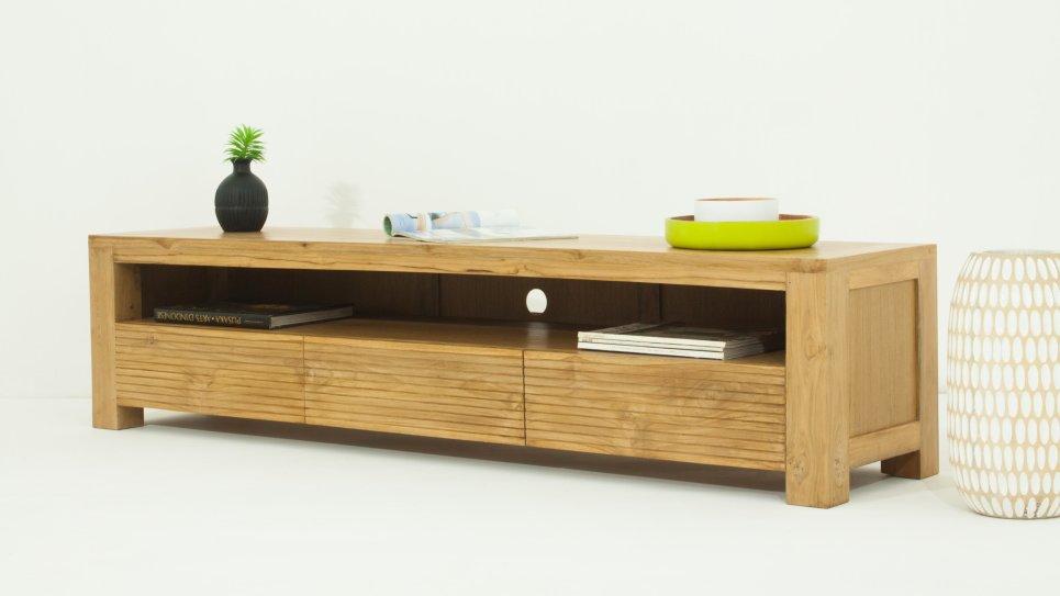 meuble tv design en teck naturel grande taille 170 cm 3 tiroirs. Black Bedroom Furniture Sets. Home Design Ideas