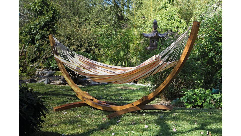 support hamac en bois arc. Black Bedroom Furniture Sets. Home Design Ideas