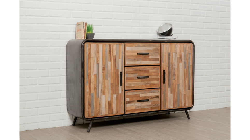 buffet 2 portes 3 tiroirs m tal et teck recycl 140 cm fusion. Black Bedroom Furniture Sets. Home Design Ideas