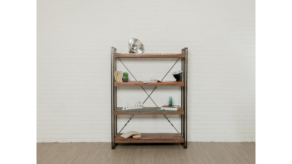 etag re biblioth que teck recycl 120 cm loft. Black Bedroom Furniture Sets. Home Design Ideas