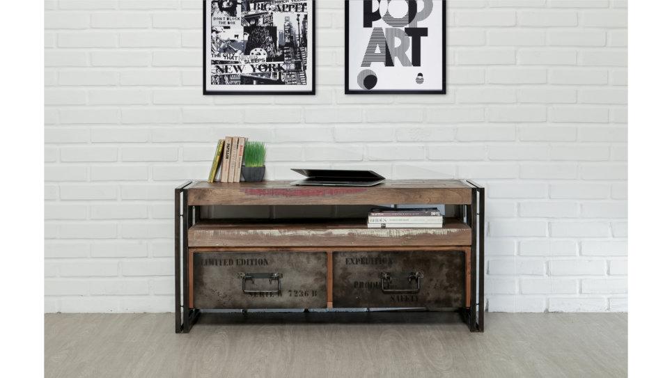 meuble tv 2 tiroirs 1 niche teck recycl 110 cm loft. Black Bedroom Furniture Sets. Home Design Ideas