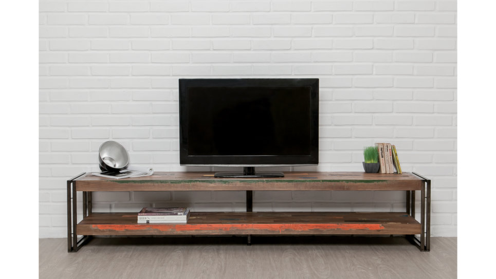 meuble tv double plateau teck recycl 200 cm loft. Black Bedroom Furniture Sets. Home Design Ideas