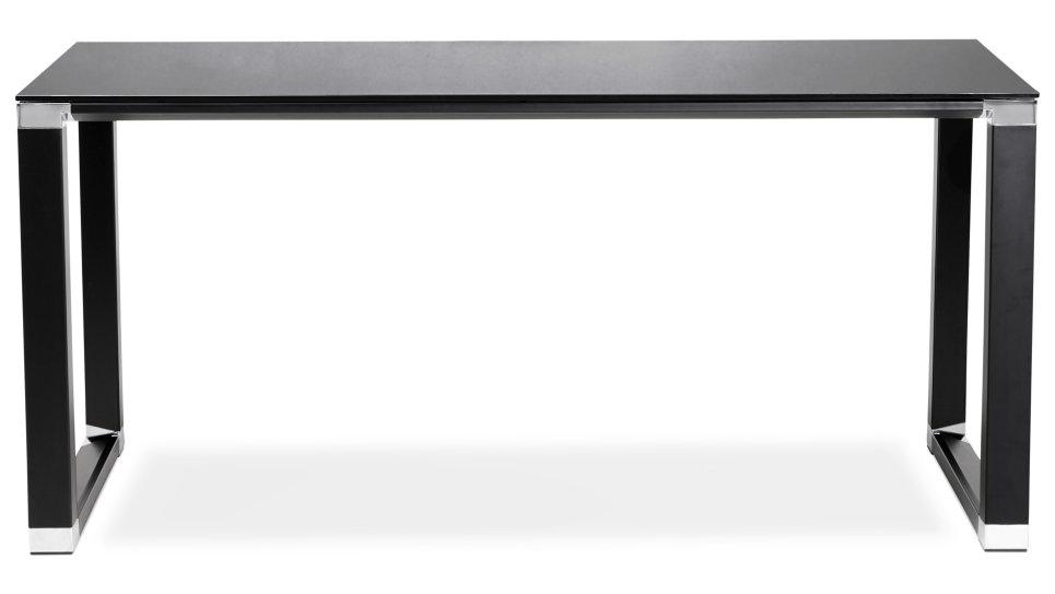 bureau droit plateau 160 x 80 cm verre noir haumea. Black Bedroom Furniture Sets. Home Design Ideas