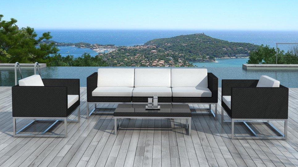 jardin au en résine design tressée Salon Acapulco de contemporain noire f6g7yb