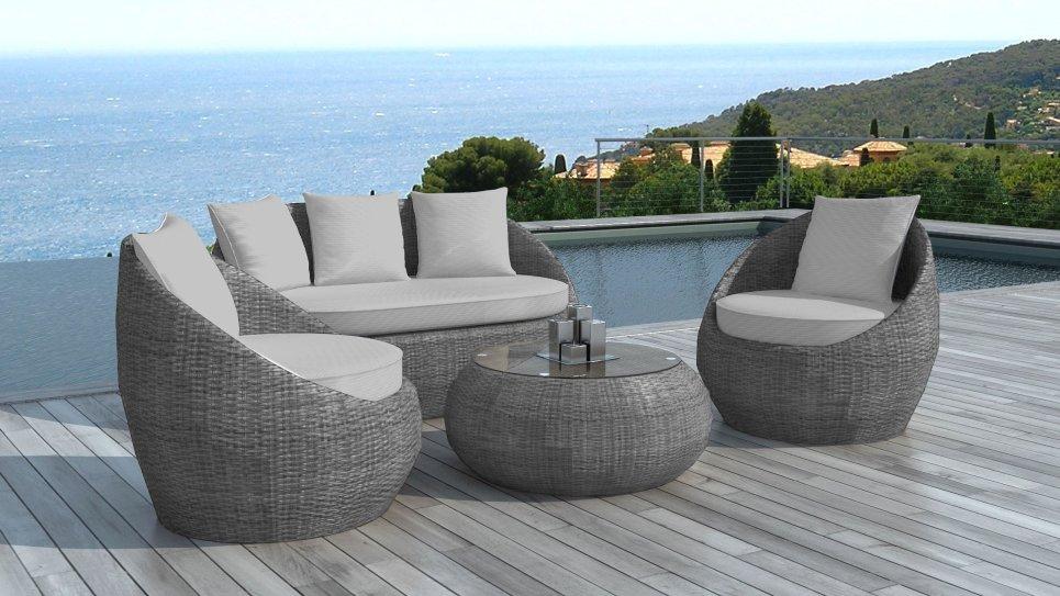 salon de jardin en r sine tress e ronde grise malaga. Black Bedroom Furniture Sets. Home Design Ideas