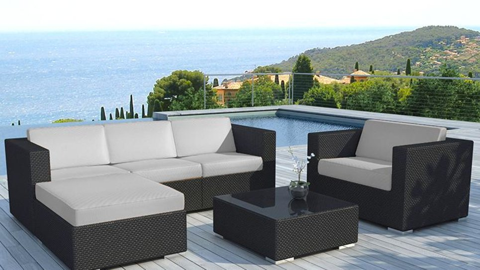 salon de jardin en r sine tress e noire gris copacabana. Black Bedroom Furniture Sets. Home Design Ideas