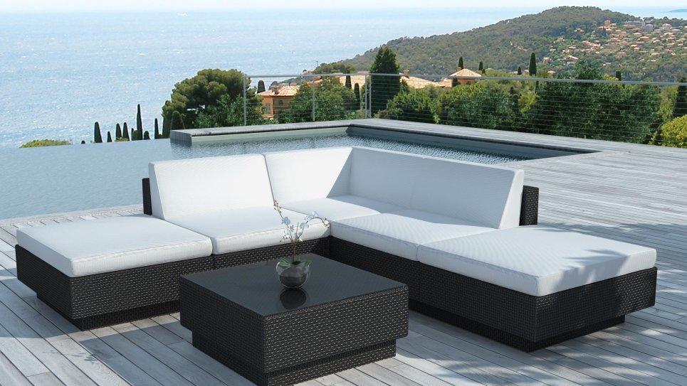 Salon de jardin design 6 places en r sine tress e - Salon de jardin en angle ...