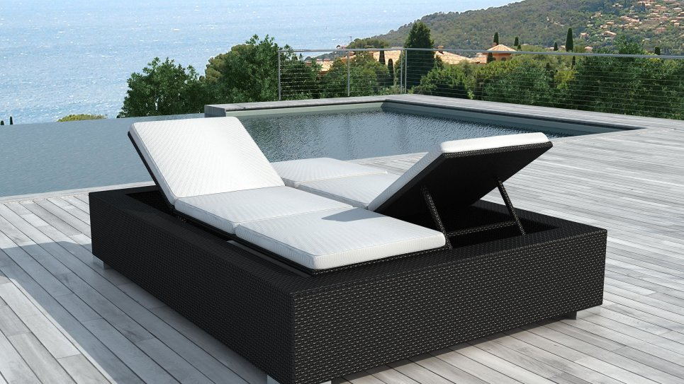 bain de soleil en resine tress e noire 2 personnes darwin. Black Bedroom Furniture Sets. Home Design Ideas