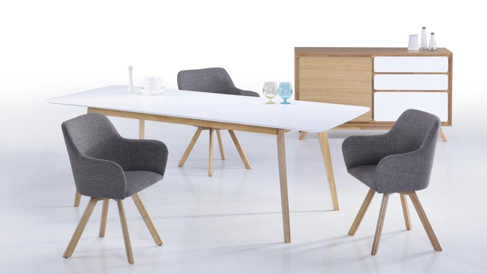 table extensible gm plateau blanc 8 12 personnes alis. Black Bedroom Furniture Sets. Home Design Ideas