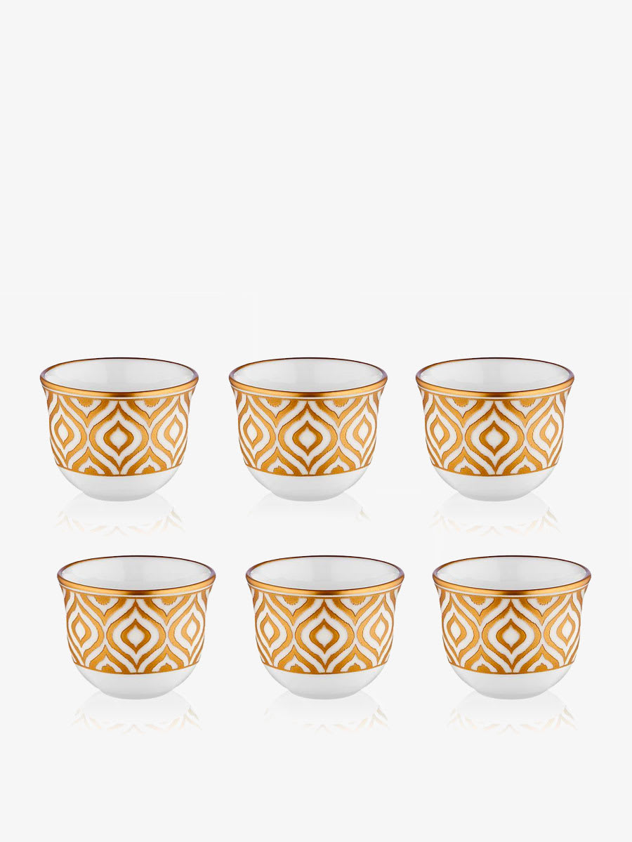 Set Of 6 Ikat Arabic Coffee Cups Gold White Almonds