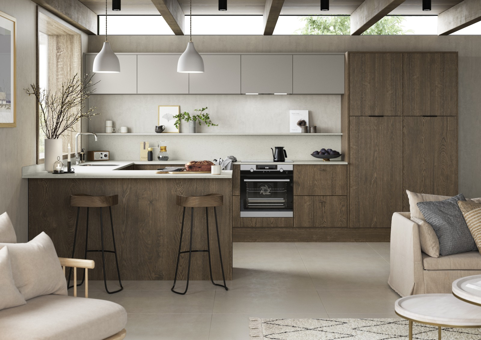 Magnet Kitchens 2021 Nordic Nature range with Fluted oak doors and Integra Hoxton Pebble cabinets with Dekton Aeri worktop. Open plan kitchen living area in Scandi style.