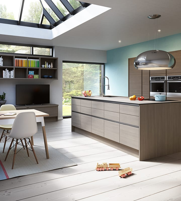 Integra Ascoli kitchen by Magnet. Matt finish handless door with trim brushed in aluminium for a high end finish.