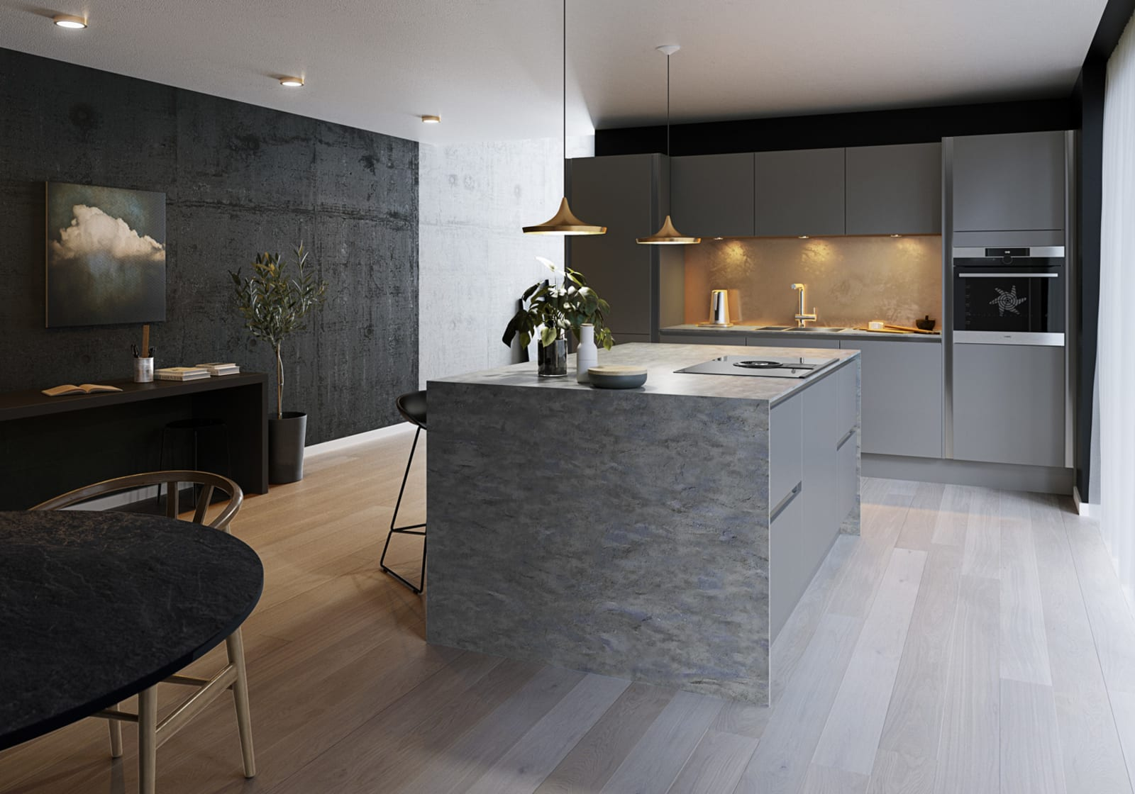 Integra Ascoli kitchen by Magnet. Matt finish handless door with trim brushed in aluminum for a high end finish.
