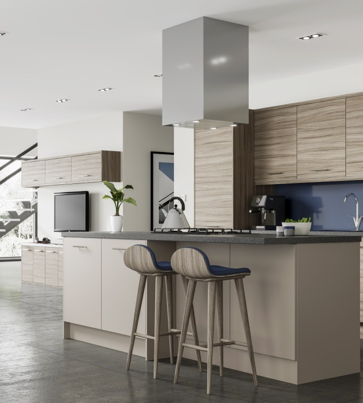 Ascoli by Magnet. Affordable contemporary kitchen constructed from 18mm MFC. Available in 6 colours.