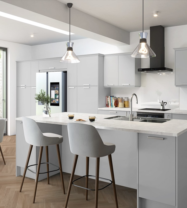 Soho from Magnet. Bold slab doors style this premium contemporary kitchen design available in 20 colours.