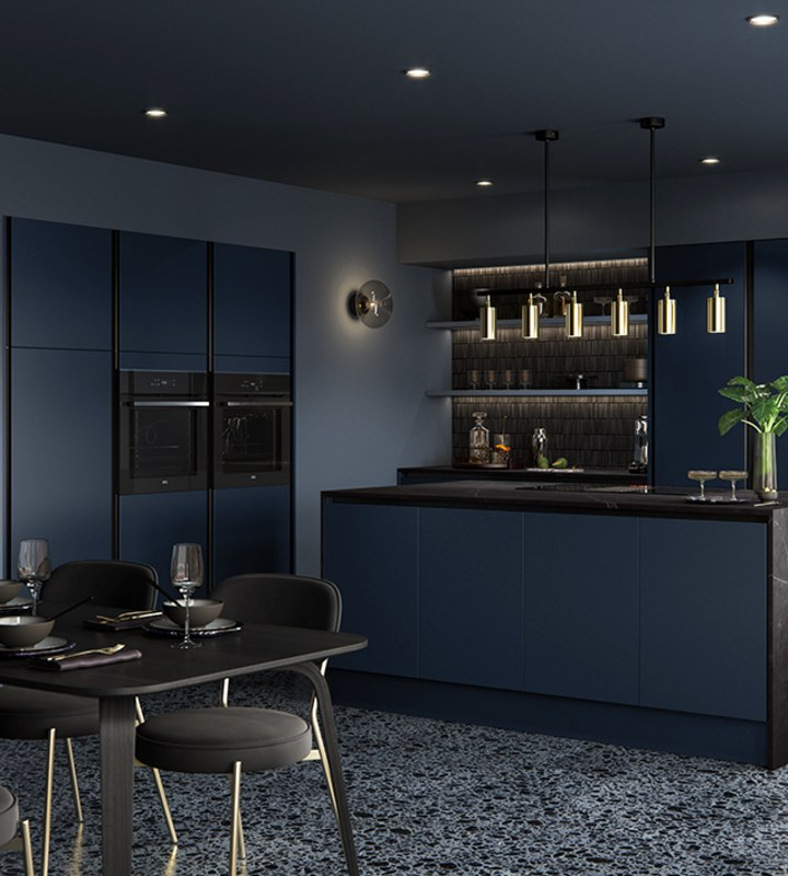 Integra Hoxton Kitchen from Magnet available in metallic midnight blue. Smooth slab doors and a painted effect finish.
