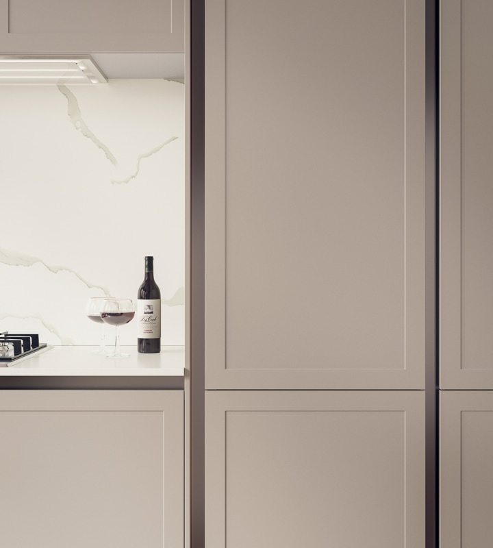 Integra Dunham Kitchen by Magnet. Premium painted matt finish with unique door style available in 20 colours.