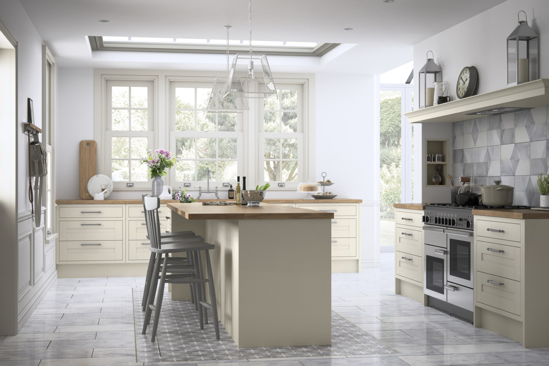 Somerton by Magnet. Premium traditional finish with visible grain detail in solid framed timber. Comes in sage or Fern colours.