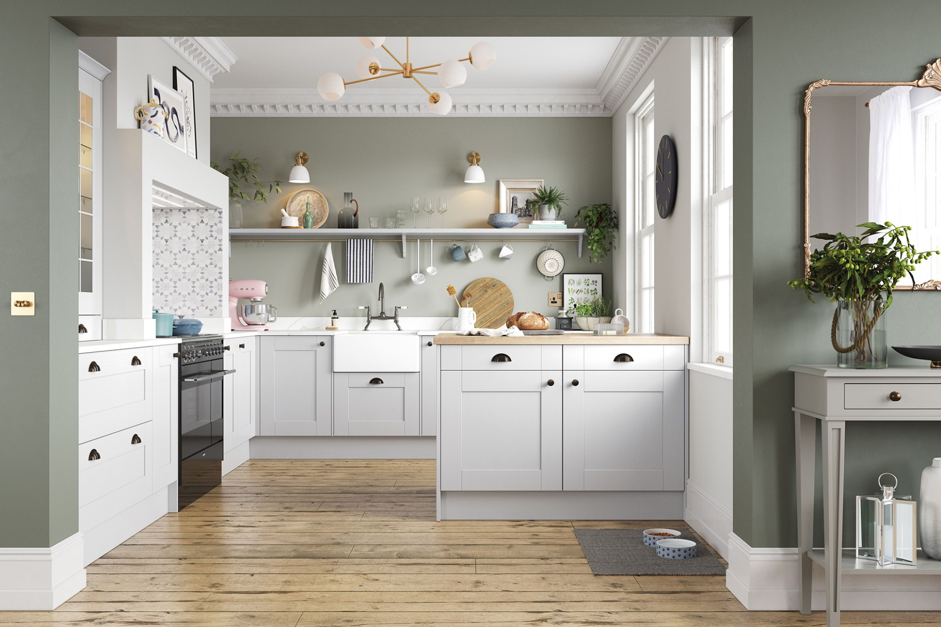 Winchester kitchen by Magnet. A wood grain effect affordable alternative to solid timber built from hardwearing MDF and available in 5 colours.
