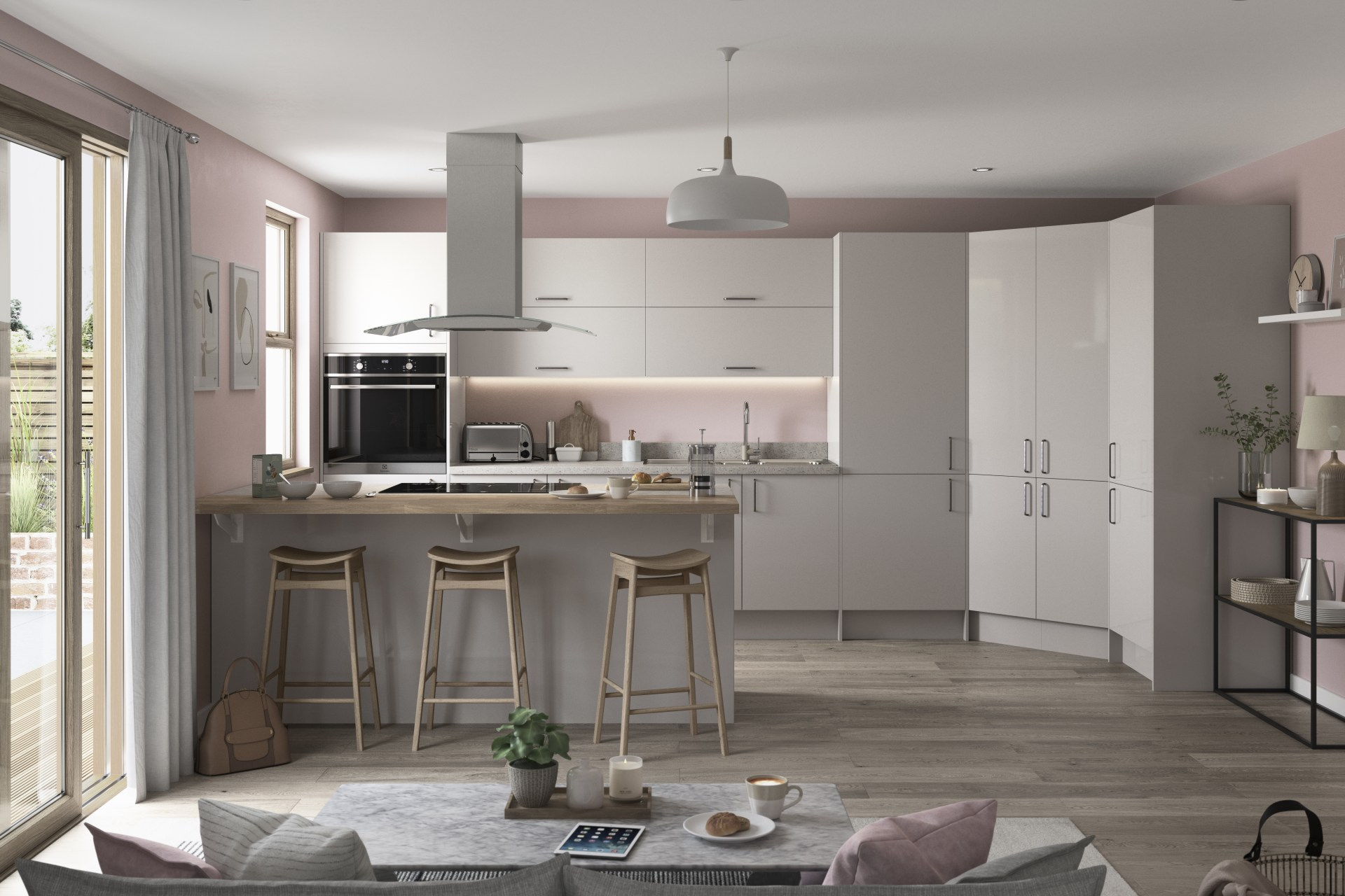 Nova by Magnet. Affordable slab door kitchen available in matt and super glass. 6 colours to choose from.