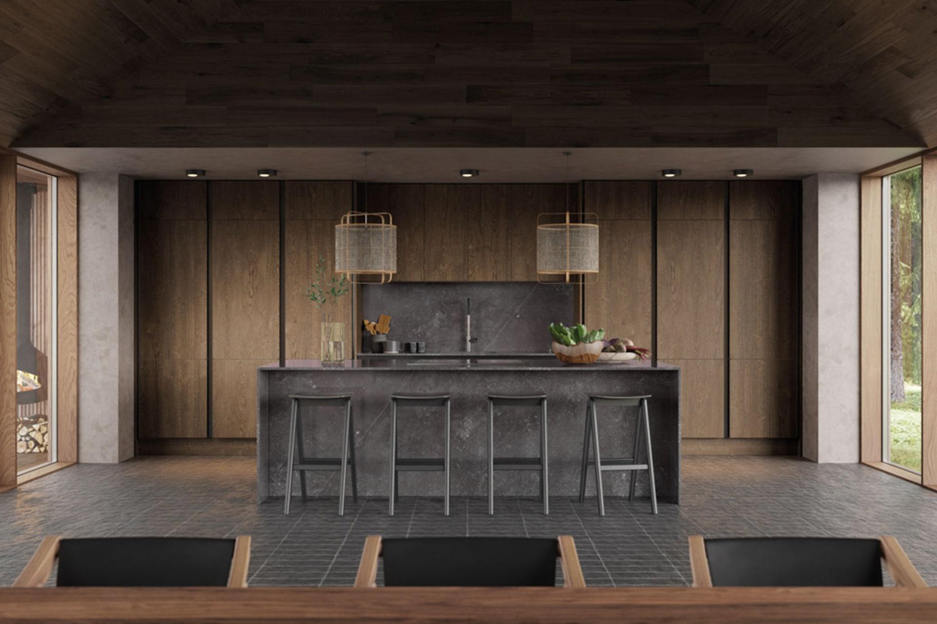 Integra Nordic Nature. Modern kitchen concept with a sleek handless design and fluted oak effect wood doors