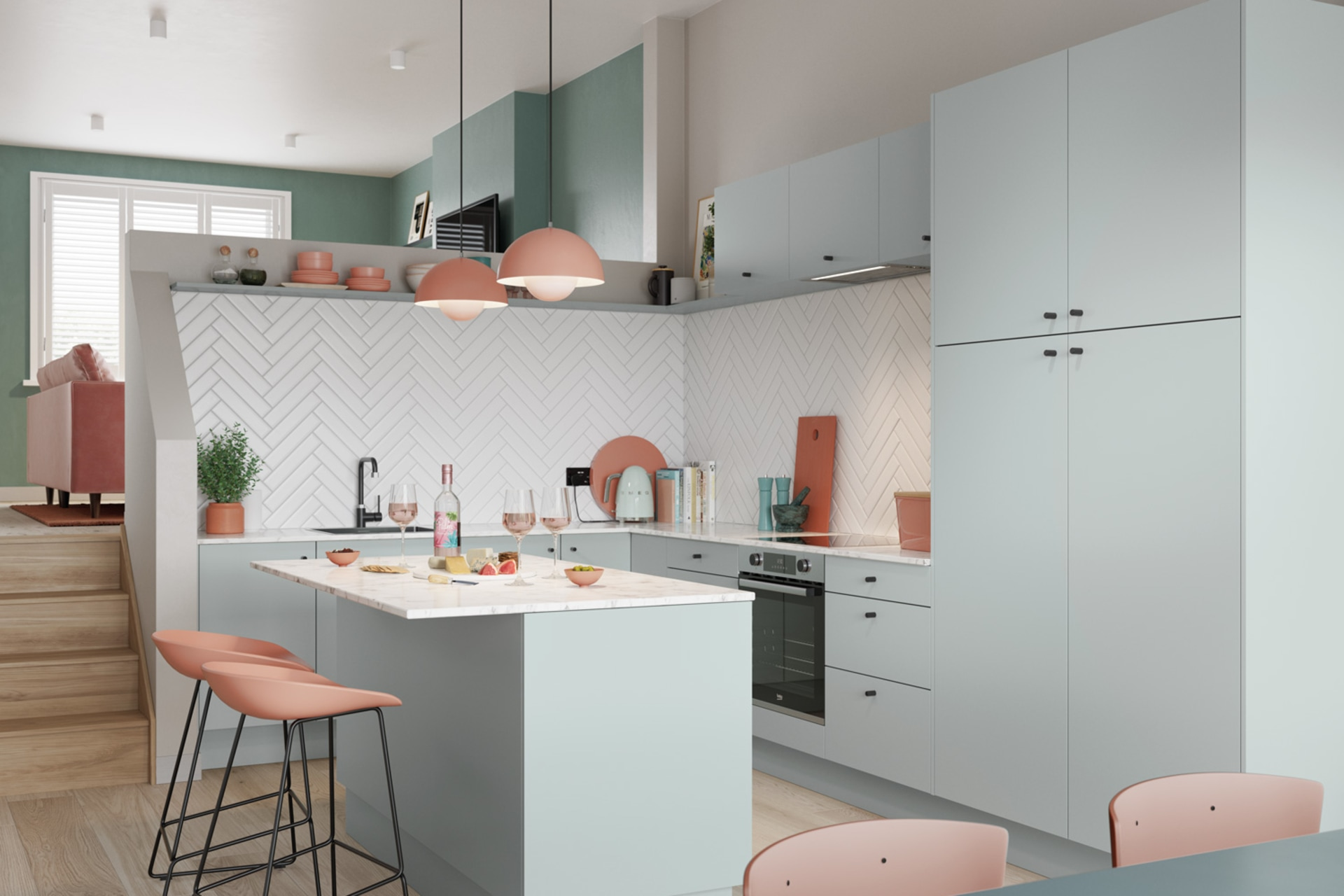 Nova by Magnet. Affordable slab door kitchen available in matt and super glass. 6 colours to chose from.