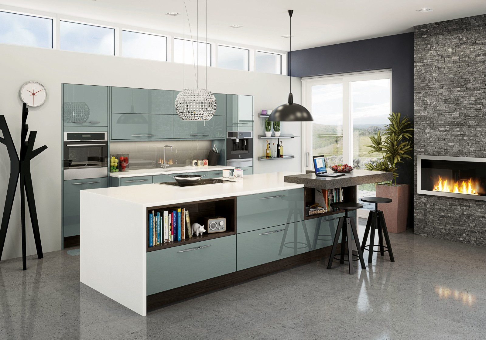Integra Fusion by Magnet. Super high gloss acrylic kitchen with handleless doors and an aluminium trim.