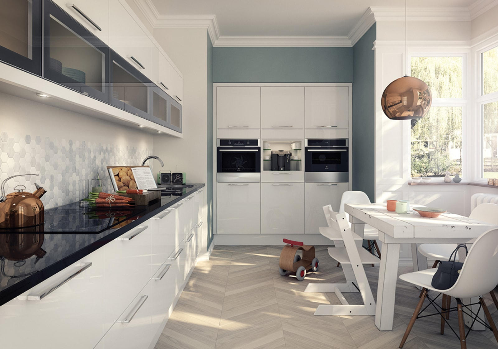 Studio by Magnet. Easy to clean durable high gloss finish kitchen with no seams or grooves. Comes in white.