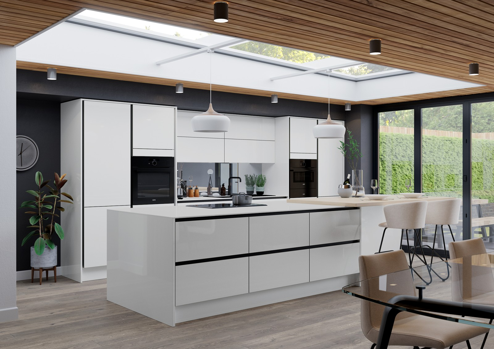 Integra Fusion by Magnet. Super high gloss contemporary finish kitchen with duo tone edging. Choose from White or Blue colours.