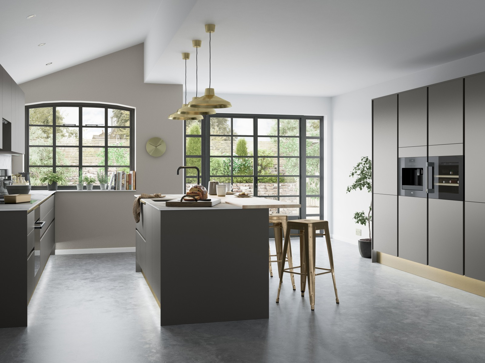 Integra Nova by Magnet. Matt finished handless option with trim brushed in aluminium for a high end feel.