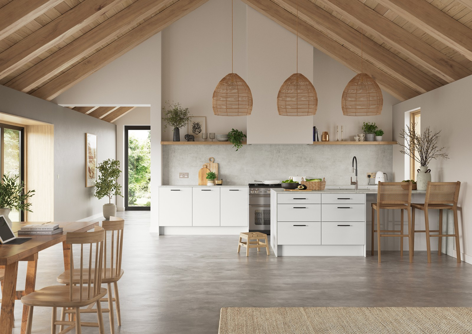 Hoxton kitchen. Smooth slab doors in a painted effect finish. Minimalist styling with your choice of handles and three colours.