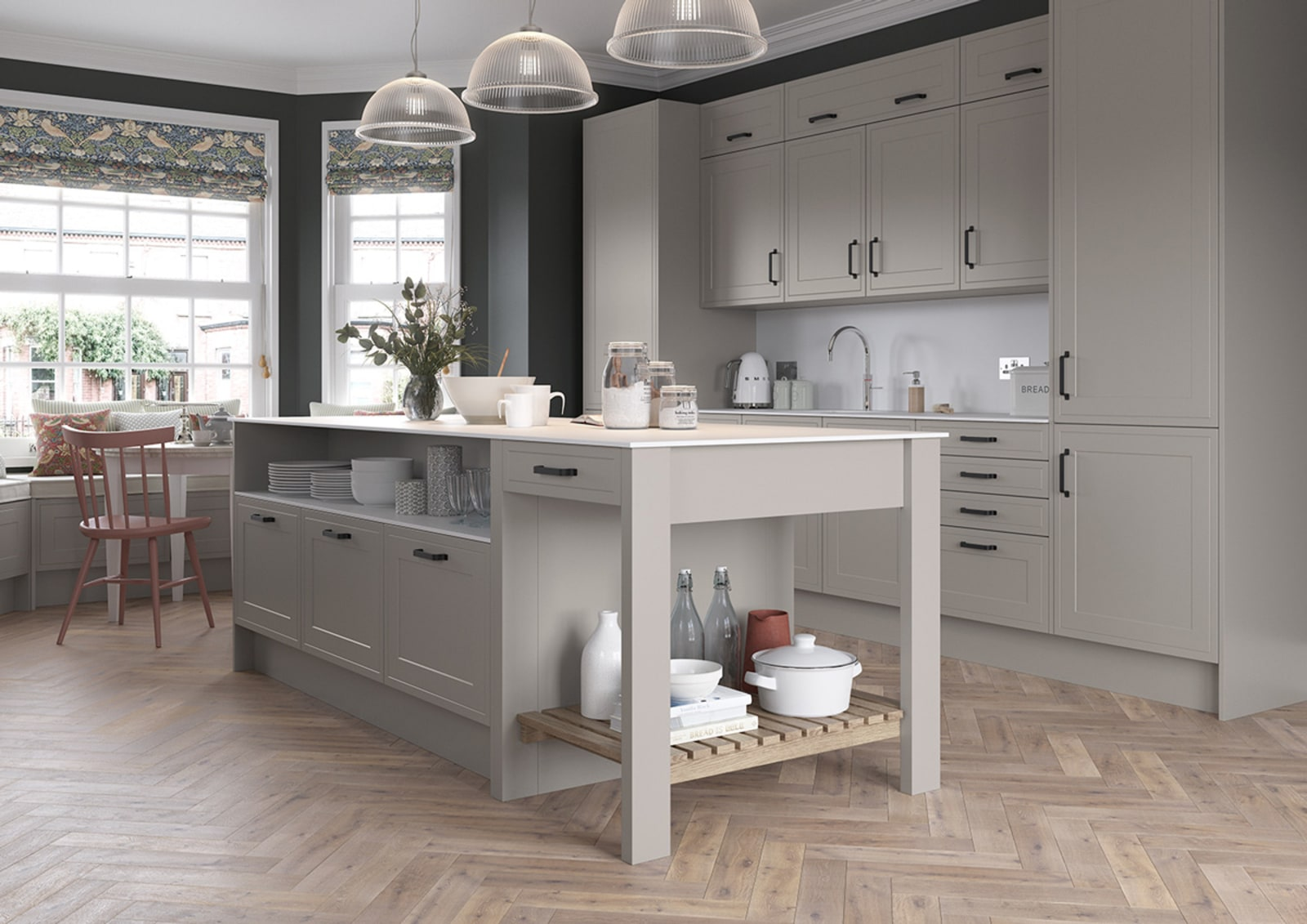 Tribeca kitchen by Magnet. Smooth matt effect with sophisticated finishes and available in three colours