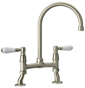 Swan Bridge Mixer Tap Brushed Nickel + White