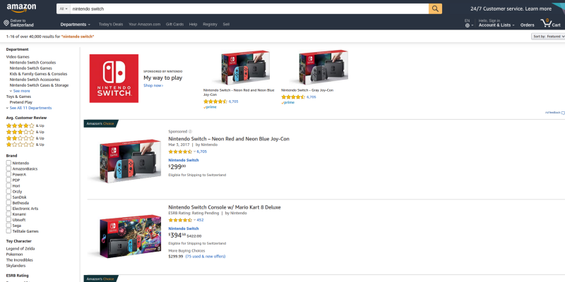 Amazon result's page
