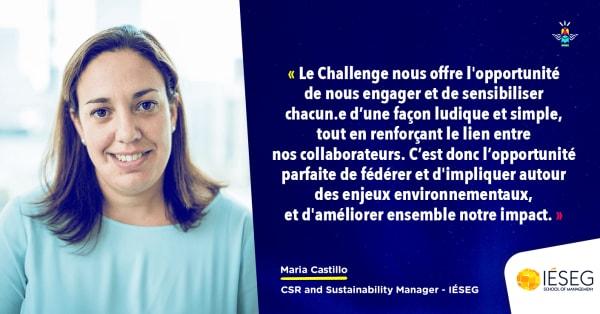 Verbatim de Maria Castillo CSR et sustainabiility manager à l'IÉSEG