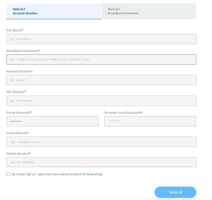 SLT Broadband account with SLT Account Number