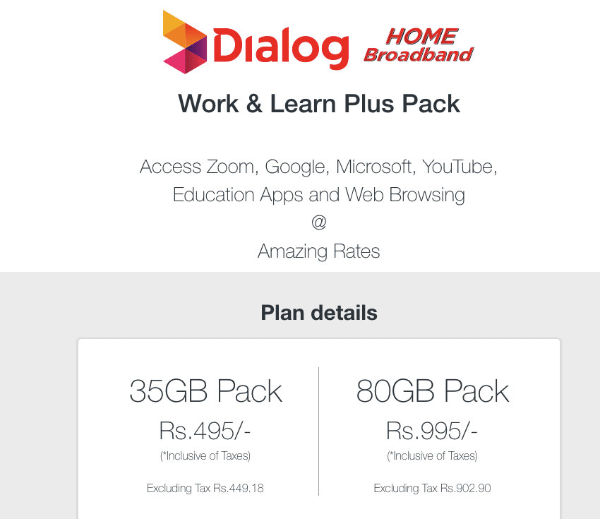 Dialog Prepaid Router Zoom Packages