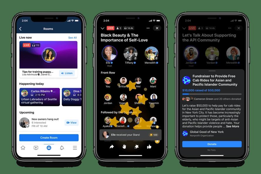 Facebook Live Audio Rooms Features