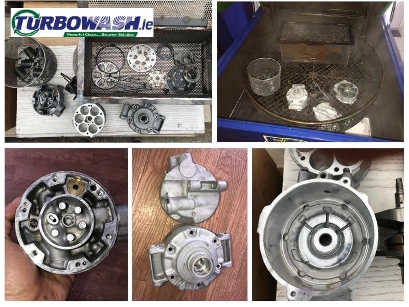 Spraywash & Ultrasonic Cleaning in an aircon compressor repair workshop