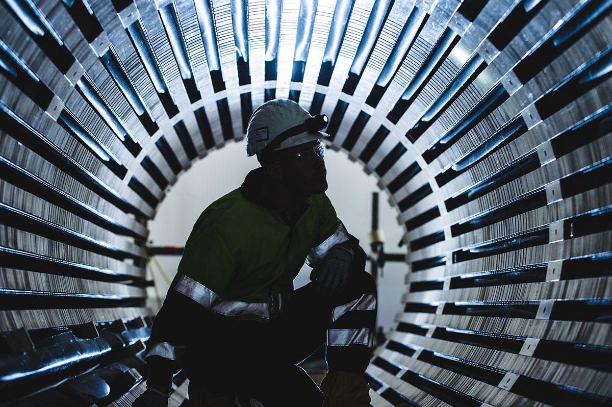 Electricity turbine generator at Drax