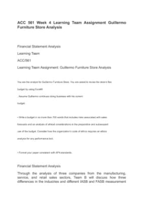 guillermo furniture store budget analysis Browse questions: all subjects  financial analysis - 15 pager on company executive summary  guillermo's furniture store scenario.