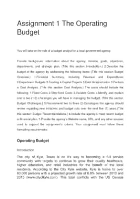 the operating budget assignment 1 Hca 312 week 4 assignment 1 operating budget operating budget review the information from your text and at least one scholarly source on capital investment plans.