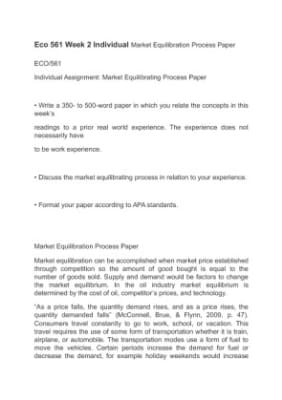 market equilibrating process paper and presentation eco 561 Essays mall original essay writing browsed by category: market structure and pricing power eco 561 and the decision making process you engaged in while.