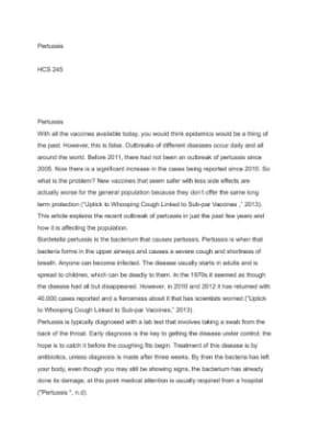 the pertussis outbreak essay