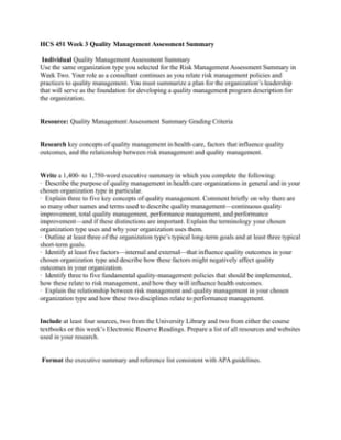 hcs451 quality management assessment summary Resource: overview of risk management and quality management in  hcs  451 week 3 individual assignment quality management assessment summary.